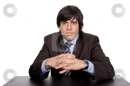 Bored stock photo, Young bored businessman on a desk, isolated on white by Rui Vale de Sousa