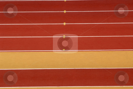 Track stock photo, Yellow and red athletics race track detail by Rui Vale de Sousa