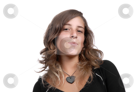 Smiling stock photo, Young attractive woman smiling, over white background by Rui Vale de Sousa