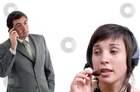 Support stock photo, Woman secretary answering a call from a businessman by Rui Vale de Sousa