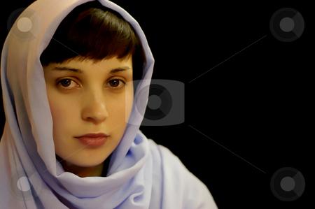 Portrait stock photo, Young casual woman portrait in a black background by Rui Vale de Sousa