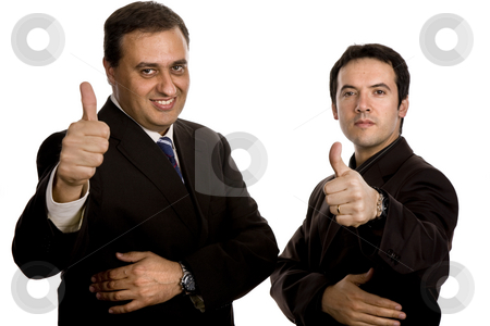 Team stock photo, Two young business men portrait, focus on the left man by Rui Vale de Sousa