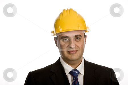 Portrait stock photo, An engineer with yellow hat, isolated on white by Rui Vale de Sousa