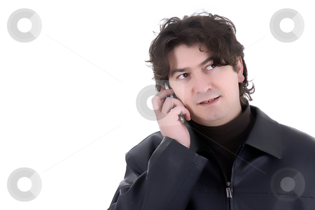 Phone stock photo, Man on the phone over a white background by Rui Vale de Sousa