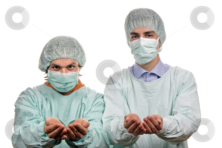 Doctors stock photo, Two male young doctors a over white background by Rui Vale de Sousa