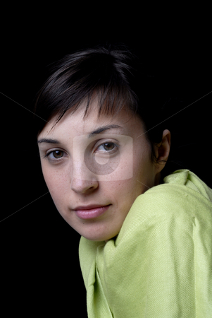 Girl stock photo, Close up portrait of young beautiful woman by Rui Vale de Sousa