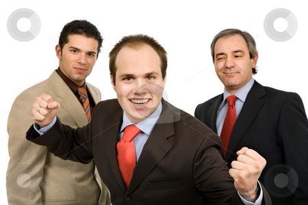 Victory stock photo, Three business man isolated on white background by Rui Vale de Sousa