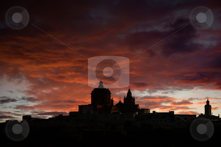 Mdina stock photo, Medieval city of Malta in silhouette at sunset by Rui Vale de Sousa