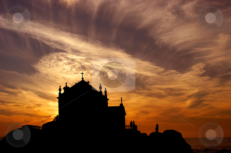 Sunset stock photo, Church at sunset near oporto in the north of portugal by Rui Vale de Sousa