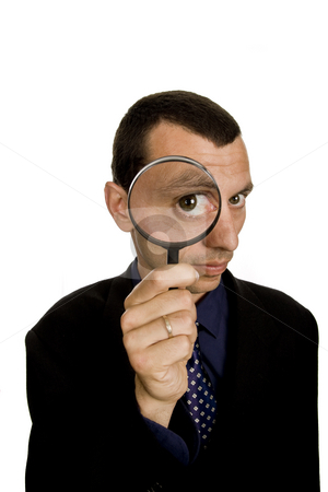 Search stock photo, Business man with a loupe isolated on white by Rui Vale de Sousa