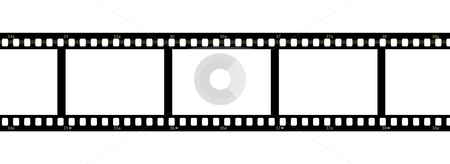 Filmstrip on white background stock photo, Horizontal filmstrip with blank frames and numbers by Alessandro Rizzolli