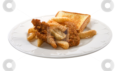 Fast food chicken fingers stock photo, A plate of fried chicken tenders and bread by Matt Baker