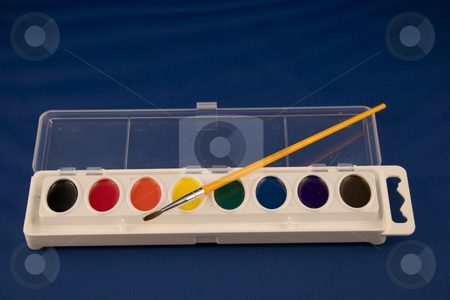 Watercolors stock photo, An isolated unused set of water colors by Matt Baker