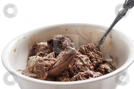 Bowl of ice cream stock photo, A bowl full of chocolate ice cream by Matt Baker