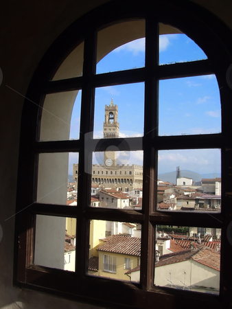 Palazzo Vecchio in Florence, Italy stock photo, Looking through a window by Matt Baker