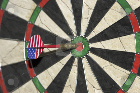Bullseye stock photo, A dart hits the bullseye by Matt Baker