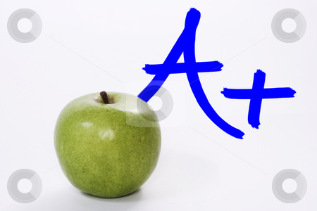 Teachers Apple stock photo, A teachers apple with an excellent grade by Matt Baker