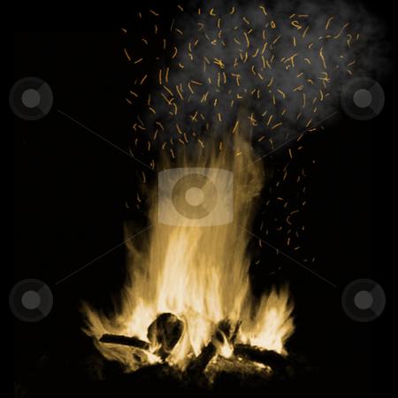Camp fire stock photo, A campfire blazes at night by Matt Baker