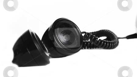 Telephone handset stock photo, An isolated old fashion black telephone handset by Matt Baker