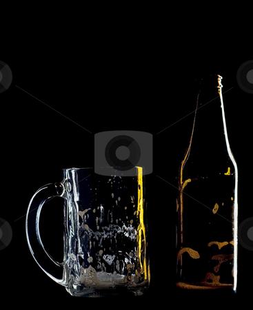 Empty beer stock photo, An empty beer mug and bottle by Matt Baker