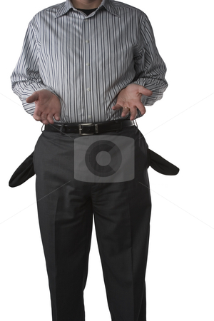 Broke stock photo, A businessman stands with empty pockets and open handed by Matt Baker