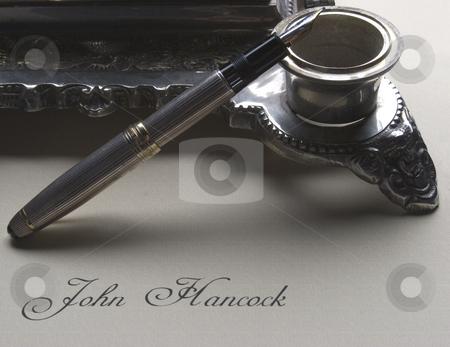 John Hancock 3 stock photo, A fountain pen and signature by Matt Baker