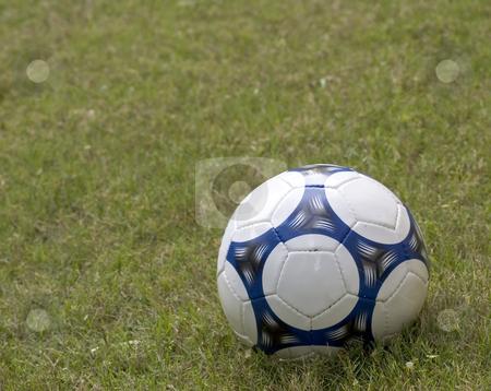 Soccer Ball stock photo, A soccer ball sits in an open field by Matt Baker