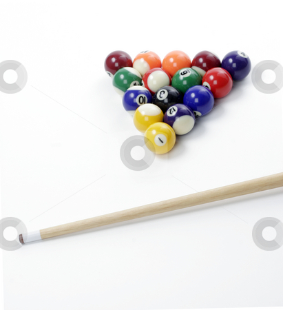 Billiard Balls stock photo, A racked set of billiard balls ready to be broken by Matt Baker