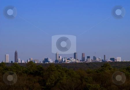 Atlanta Skyline at dusk stock photo, A panarama of the Atlanta skyline at dusk by Matt Baker