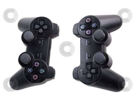 Game Controllers stock photo, Two game controllers facing each other by Matt Baker