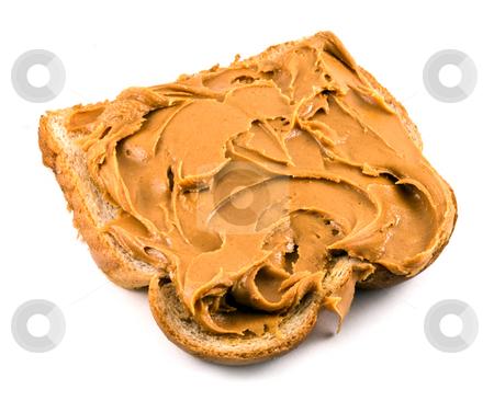 Peanut Butter Sandwich stock photo, A peanut butter sandwich on wheat bread. by Steve Carroll