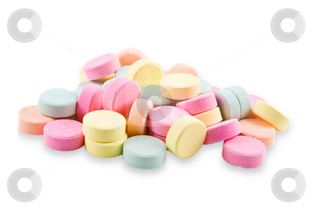 Antacid Tablets stock photo, A pile of colorful, geneic antacid tablets. by Steve Carroll