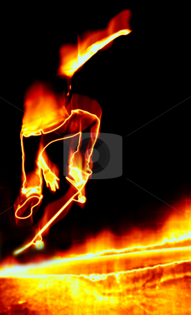 Skateboarder On Fire stock photo, Illustration of a skateboarder performing his tricks in fiery flames. by Todd Arena
