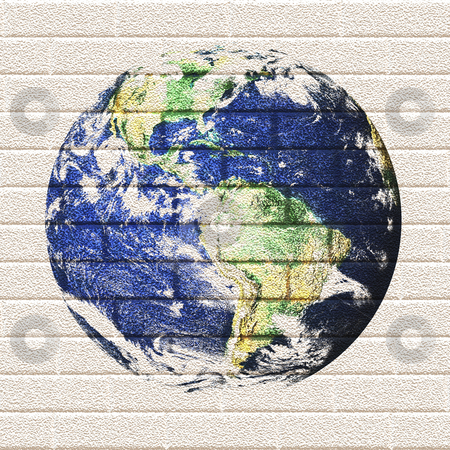 Brick Wall Earth stock photo, Illustration of the earth painted on a brick wall. by Todd Arena