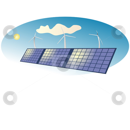 Solar stock vector clipart, Solar panels and wind turbines by Ira J Lyles Jr
