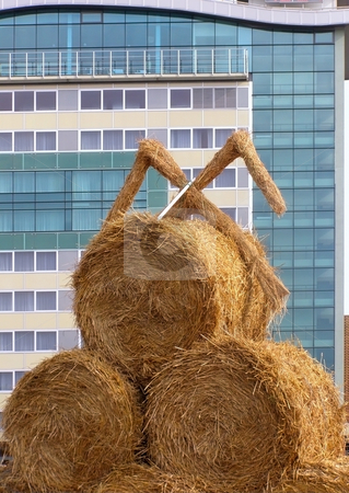 Urbanization stock photo, Bundle of hay against the modern building background by Sergej Razvodovskij