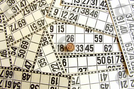 Pontoon stock photo, Closed number twenty one on the cards of lotto by Sergej Razvodovskij