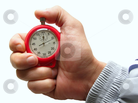 Time forward stock photo, Male hand with switched-on seconds counter by Sergej Razvodovskij