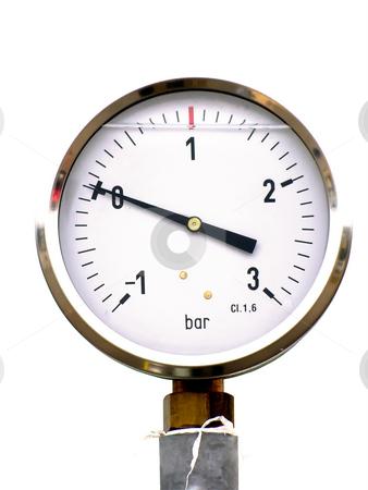 Pressure gauge stock photo, Pressure gauge on the white background by Sergej Razvodovskij