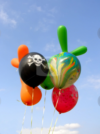 Balloons on the sky stock photo, Colored balloons against the sky background by Sergej Razvodovskij