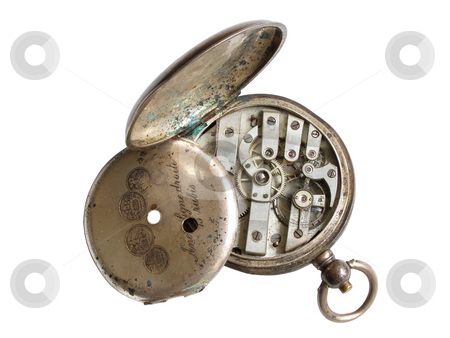 Broken silver watch stock photo, Broken pocket watch from silver with the moved end cover by Sergej Razvodovskij