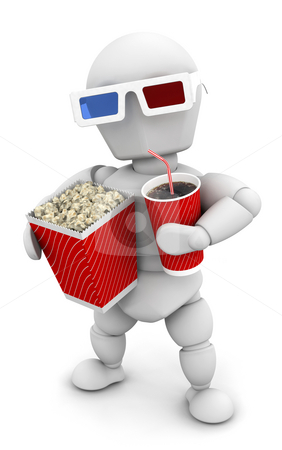 Movie Man stock photo, 3D render of someone with pocorn and soda by Kirsty Pargeter