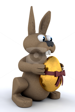 Easter bunny stock photo, 3d render of an easter bunny holding a golden easter  egg by Kirsty Pargeter