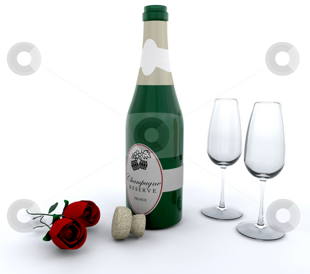 Romance stock photo, Champagne with red roses and glasses by Kirsty Pargeter