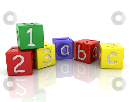Baby's building blocks stock photo, 3D render of baby's building blocks by Kirsty Pargeter