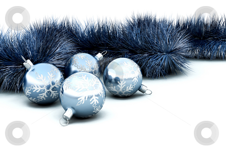 Christmas baubles and tinsel stock photo, 3D render of Christmas baubles and tinsel by Kirsty Pargeter