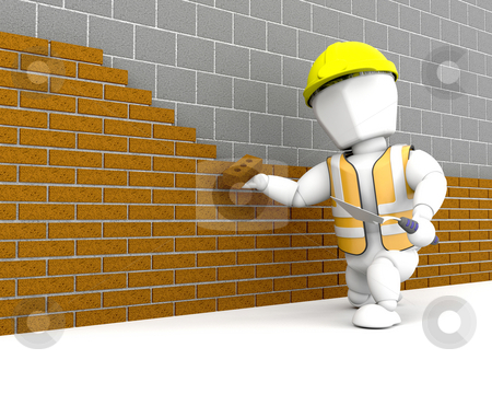 Brick Layer stock photo, 3D render of a person buildinga  brick wall by Kirsty Pargeter