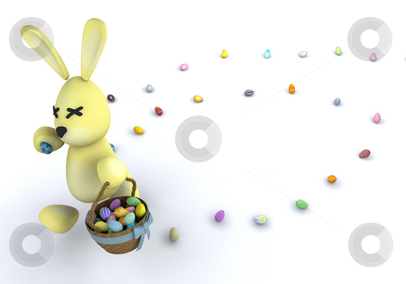 Easter bunny stock photo, Easter bunny with Easter eggs by Kirsty Pargeter