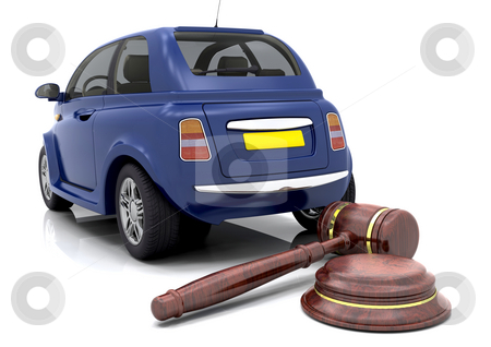 Car auction stock photo, Hammer and gavel in front of a car by Kirsty Pargeter