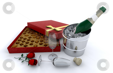 Champagne and chocolates stock photo, Champagne with chocolates and red roses by Kirsty Pargeter